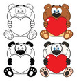bear and panda cartoon characters collection set vector image