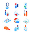 beauty and cosmetics - modern isometric icons set vector image