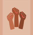 black fist raised feminist power poster graphic vector image