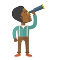 Black guy with telescope to see something up in vector image vector image