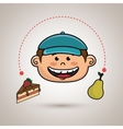 boy fruit cake dessert vector image