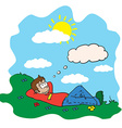 boy resting in a field vector image vector image