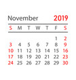 calendar november 2019 year in simple style vector image vector image
