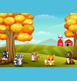cartoon animals in farm landscape vector image