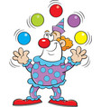 cartoon clown juggling balls vector image vector image