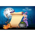 cartoon witch stirring magic potion with halloween vector image