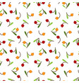 Cute berry with leaves seamless pattern