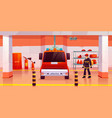 firefighter man stand near fire engine in garage vector image