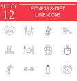 fitness and diet line icon set healthy life vector image