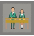 flat shading style icon pupils at school desk vector image