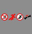 forbidden running man icon set vector image vector image