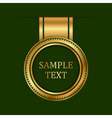 gold label on green background vector image vector image