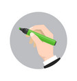 hand holds the marker vector image