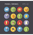 icons flat shadow food drinks eps10 vector image vector image