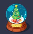 isometric 2019 christmas tree gift box glass ball vector image vector image