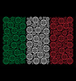 italian flag pattern of globe icons vector image vector image