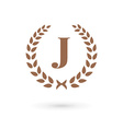 Letter J laurel wreath logo icon vector image vector image