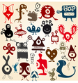 many cute doodle monsters set vector image vector image