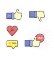 Modern Set of thumb up and like icons vector image vector image