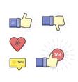 modern set thumb up and like icons vector image vector image