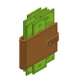 money in your wallet cash in purse dollars in vector image vector image