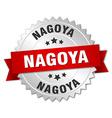 Nagoya round silver badge with red ribbon vector image vector image