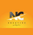 nc n c letter modern logo design with yellow vector image vector image