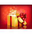 opened gift box with flying hearts vector image vector image