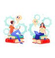 people learn foreign language in online course vector image