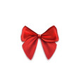 red lush gift bow from silk ribbons realistic vector image vector image