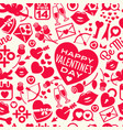 seamless pattern of scattered valentines day icons vector image vector image