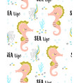 seamless pattern with cute seahorse isolated on vector image vector image
