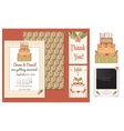 set of invitation cards with cake badge and vector image vector image