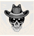 skull head wearing glasses and cowboy hats vector image vector image