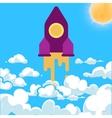 start-up rocket white clouds cartoon vector image vector image