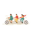 team work bike cartoon businessman characters on vector image vector image