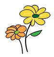 Two Cute Little Flower Falling in Love vector image