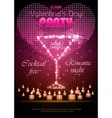 Valentine disco poster with hearts and cocktails vector image vector image