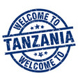 welcome to tanzania blue stamp vector image vector image