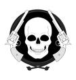 Wild skull west emblem Linear vector image vector image