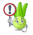 with sign cartoon green kohlrabi in the market vector image vector image