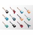 electronic and acoustic guitars icon set vector image