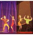 Disco Evening Dancing Pairs Cartoon Poster vector image