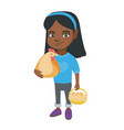 african girl holding a chicken and hen eggs vector image vector image