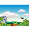 an elephant an insect and a bird vector image vector image