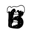 b christmas snowy alphabet christmas font with vector image