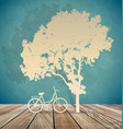 background with bicycle under tree vector image vector image
