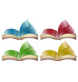 Books in four different colors vector image
