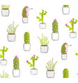 Cactus hedgehog in pots fun seamless pattern
