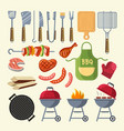 cartoon of meat sauce grill vector image vector image